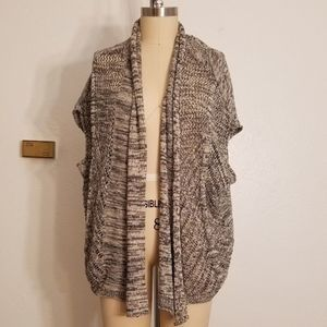 Open Front Short Sleeve Cardigan Sweater Size L